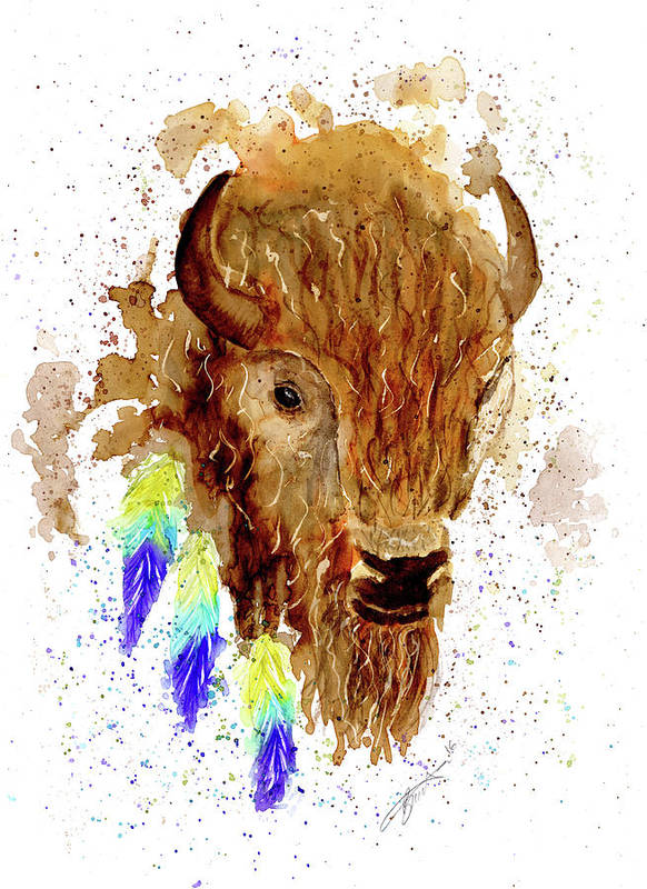Bison Poster featuring the painting Bison by Bonnita Moaby