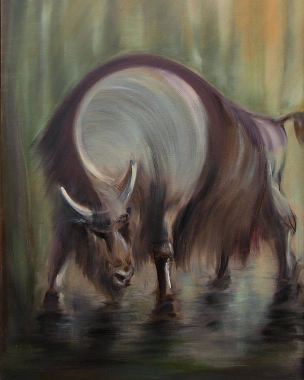 Bison Poster featuring the painting Bison by Edyta Loszakiewicz
