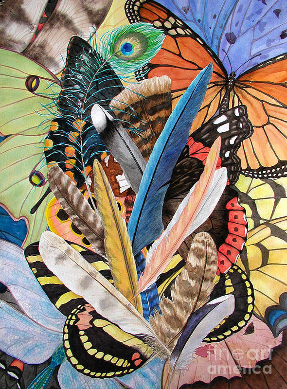 Feathers Poster featuring the painting Bits Of Flight by Lucy Arnold