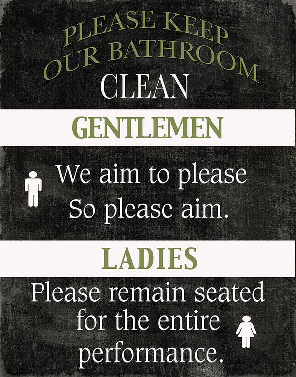 Black And White Poster featuring the mixed media Black And White Bathroom Rules by Marilu Windvand