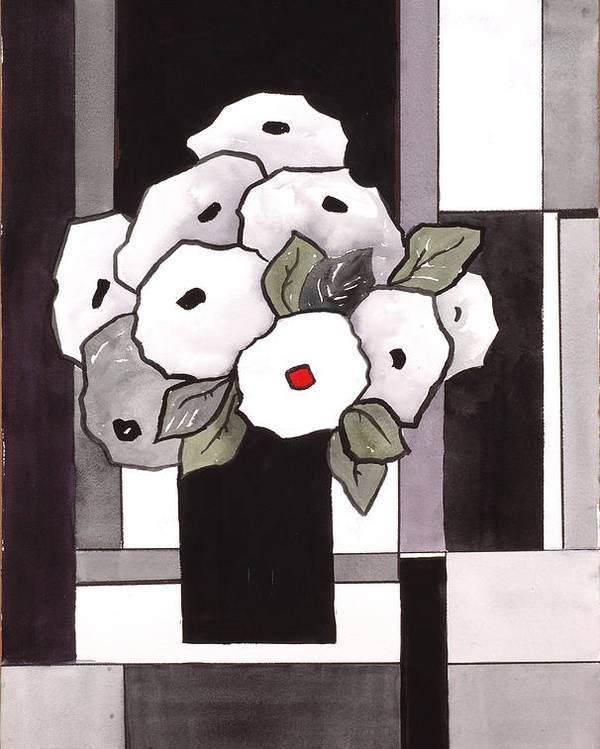 Painting Poster featuring the painting Black And White Funny Flowers by Carrie Allbritton