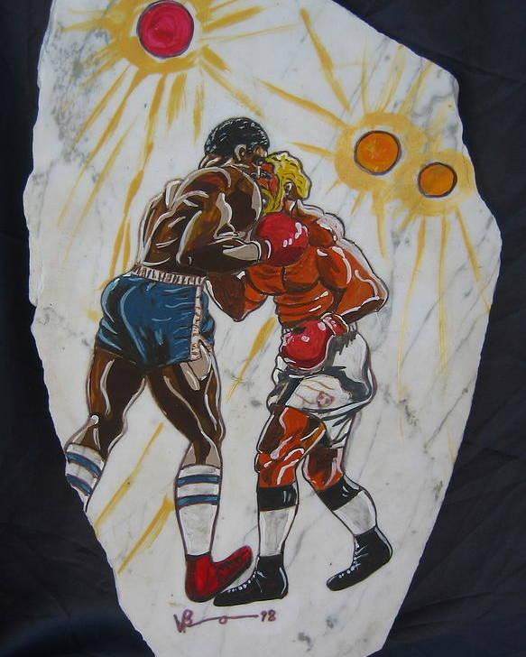 Boxing Poster featuring the mixed media Black And White by V Boge