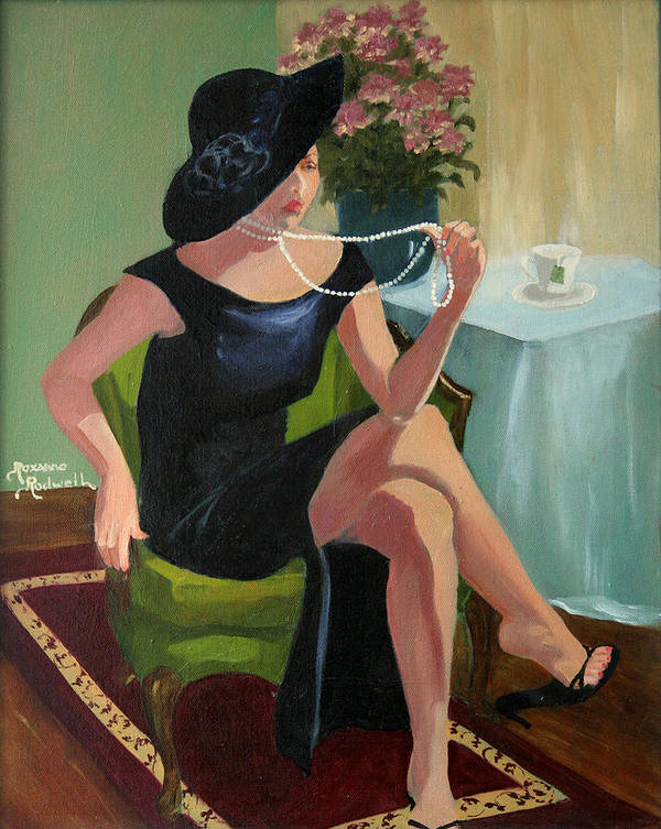 Figure Poster featuring the painting Black Hat And Beads by Roxanne Rodwell