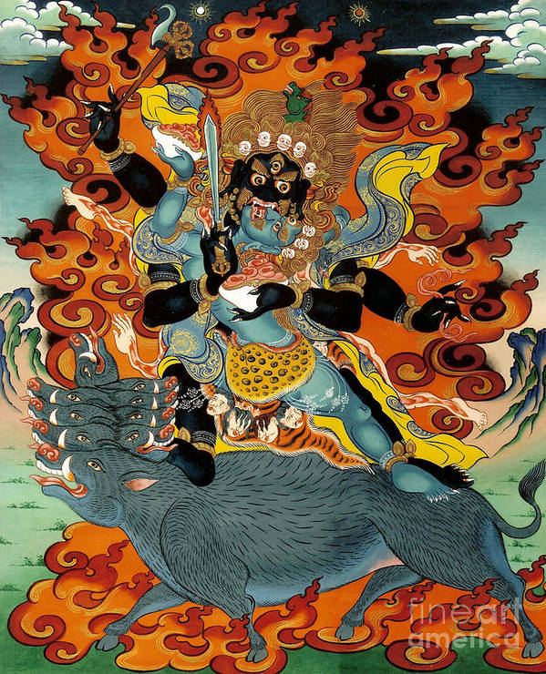 Thangka Poster featuring the painting Black Hayagriva by Sergey Noskov