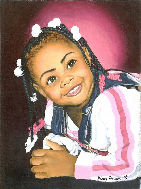 Children Poster featuring the painting Black Is Beautiful by Henry Frison