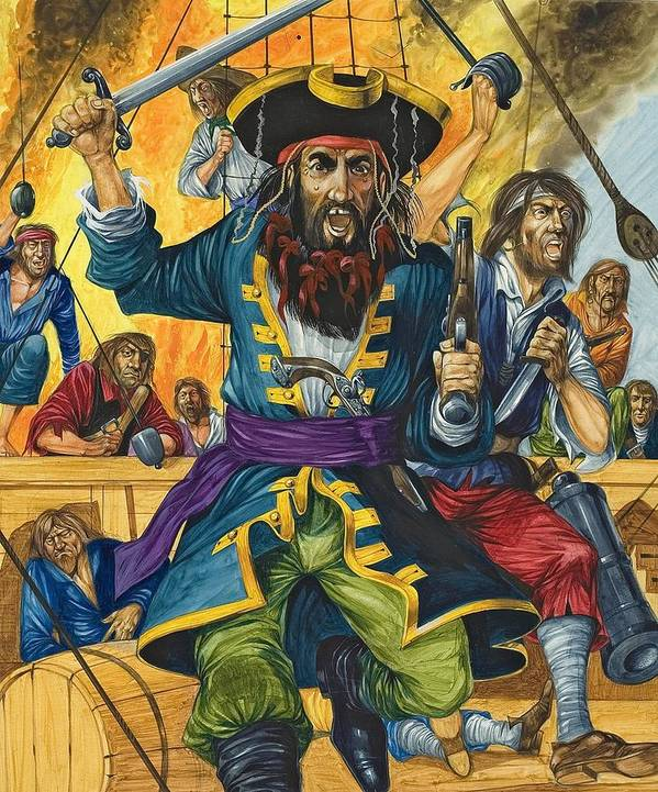 Pirate; Black Beard; Pirates; Captain; Sailors; Sailor; Sailing Ship; Traditional Costume; Fierce; Deck; Sword; Pistol; Gun Poster featuring the painting Blackbeard by Richard Hook