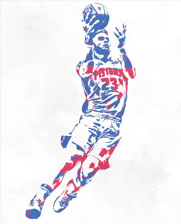 Blake Griffin Poster featuring the mixed media Blake Griffin Detroit Pistons Pixel Art 1 by Joe