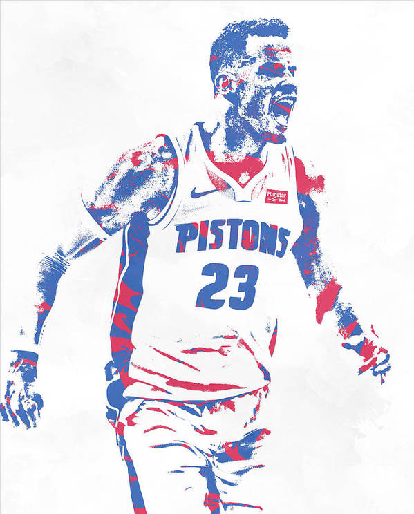 Blake Griffin Poster featuring the mixed media Blake Griffin Detroit Pistons Pixel Art 2 by Joe
