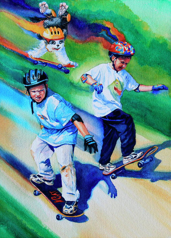 Skateboard Poster featuring the painting Blasting Boarders by Hanne Lore Koehler