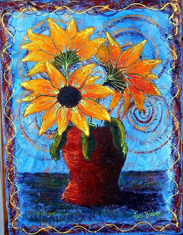 Poster featuring the painting Blazing Sunflowers by Tami Booher