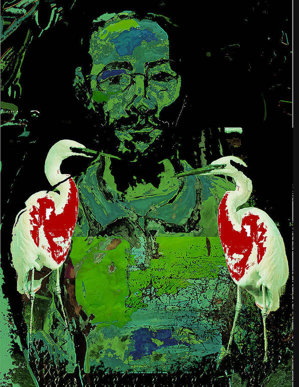 Birds Poster featuring the painting Bleeding Birds by Noredin Morgan