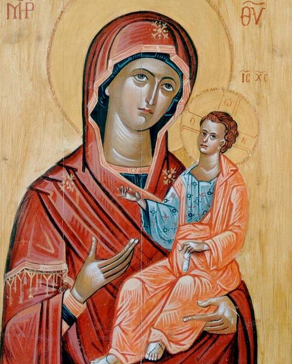 Blessed Virgin Mary Paintings.blessed Virgin Mary Icons.icon Of The Blessed Virgin Mary.encaustic Icon Of Blessed Virgin Mary.byzantine Icon Paintings.traditional Greek Byzantine Icons.orthodox Church Icons. Poster featuring the painting blessed Virgin Mary by George Siaba