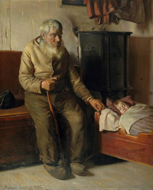 Michael Peter Ancher Poster featuring the painting Blind Kristian Minding A Child by MotionAge Designs