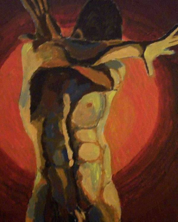 Nude Poster featuring the painting Blinded by Mats Eriksson