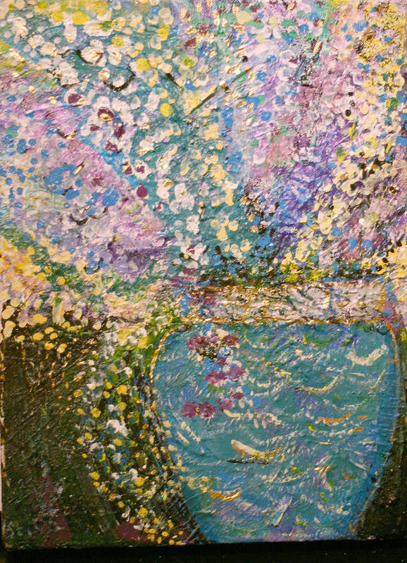 Flowers Poster featuring the mixed media Bling Bling Blossoms In Blue Vase by Anne-Elizabeth Whiteway