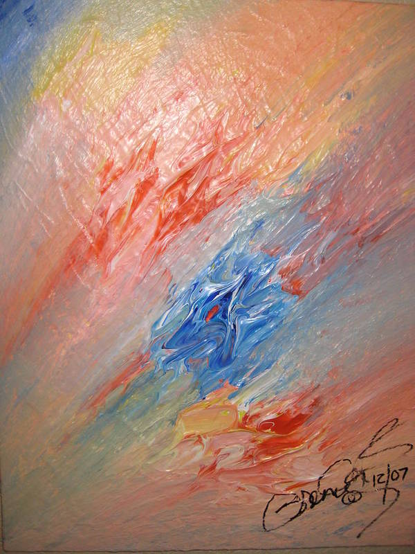 Abstract Poster featuring the painting Bliss - B by Brenda Basham Dothage