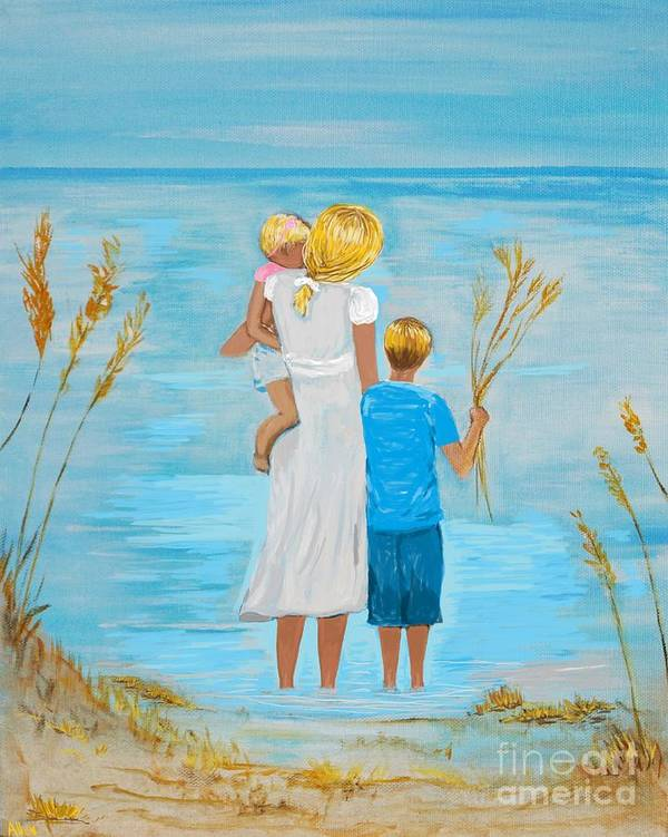 Mother Art Poster featuring the painting Blissful Day by Leslie Allen