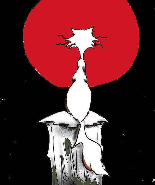 Red Poster featuring the digital art Blood Moon by Michael Monroe