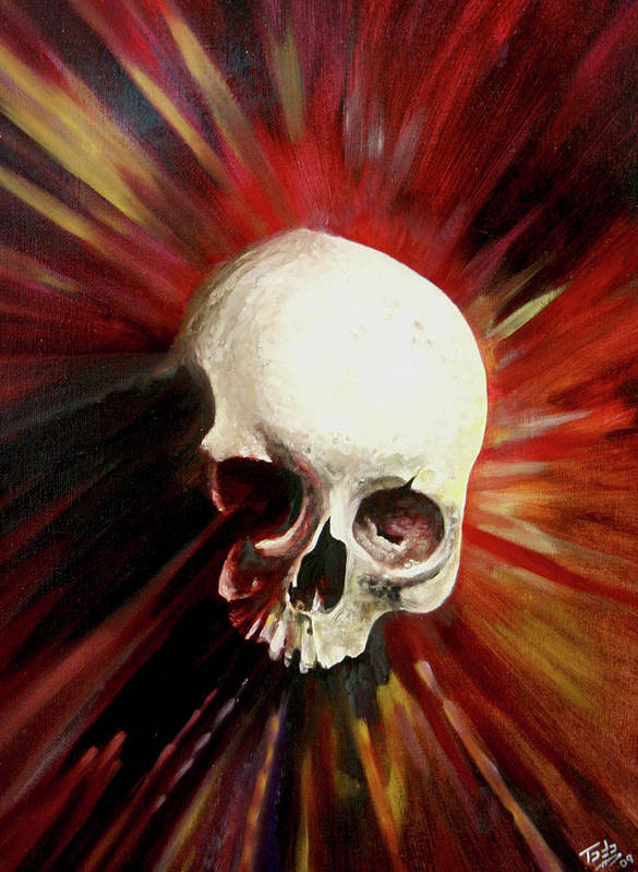 Skull Poster featuring the painting Blood Skull by Todo Brennan