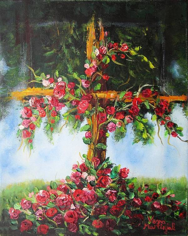 Cross Poster featuring the painting Blooming Cross by Vesna Martinjak