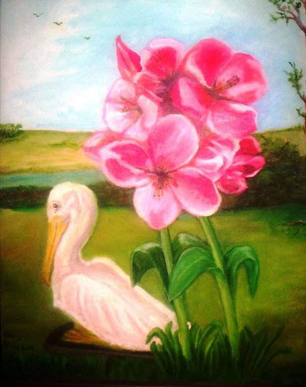 Pelegan Poster featuring the painting Blooming by Gloria M Apfel