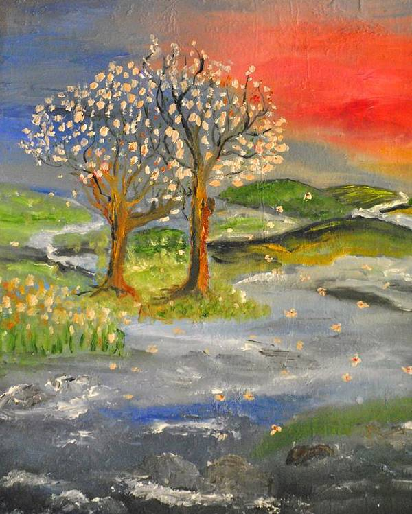 Landscape Poster featuring the painting Blossom Trees by Evelina Popilian