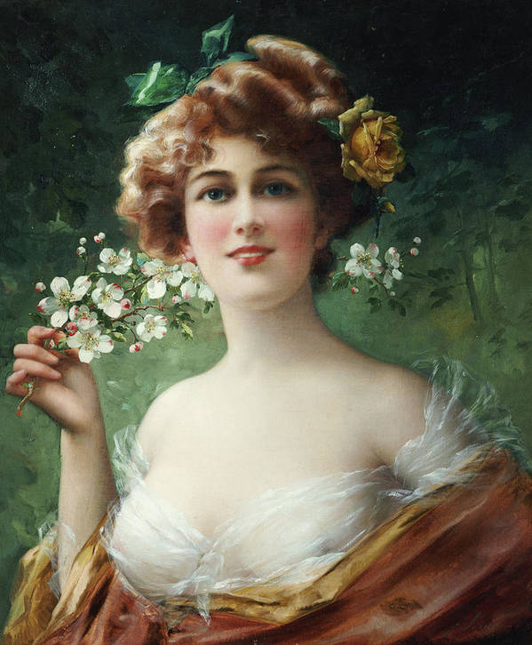Blossoming Beauty (oil On Canvas) By Emile Vernon (1872-1919) Female; Beauty; Blossom; Blossoming; Flowers; Half Length; Smiling; Bust Poster featuring the painting Blossoming Beauty by Emile Vernon