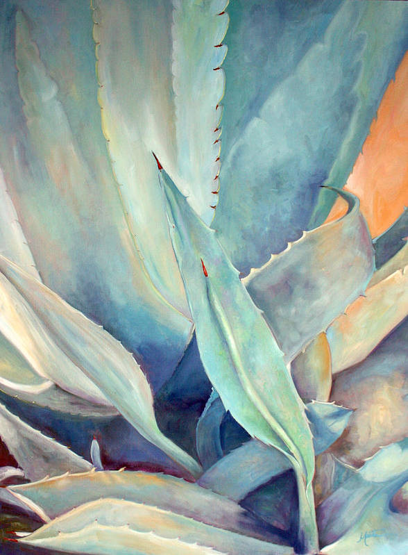Plant Poster featuring the painting Blue Agave Family by Athena Mantle