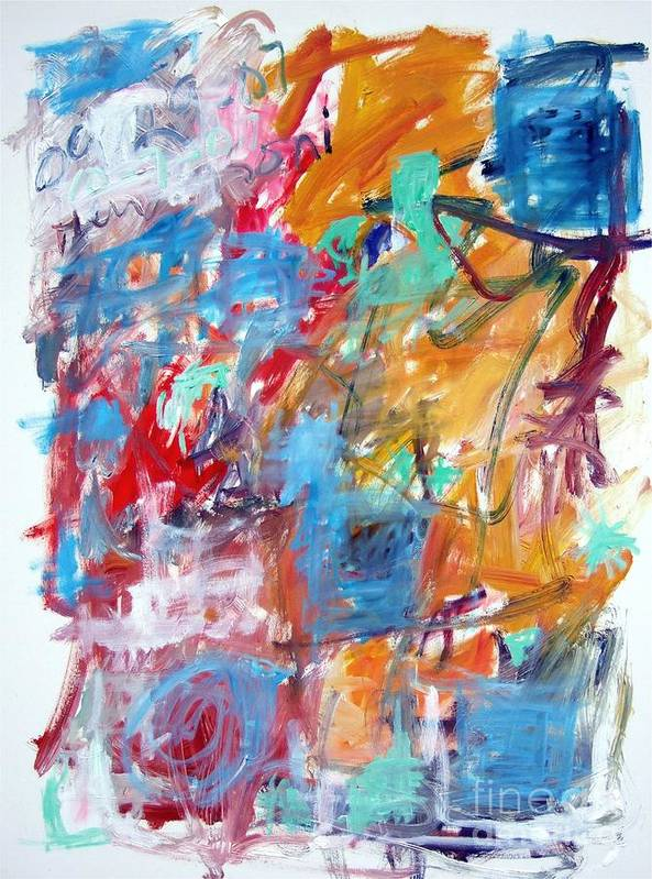 Abstract Poster featuring the painting Blue and Orange Abstract by Michael Henderson