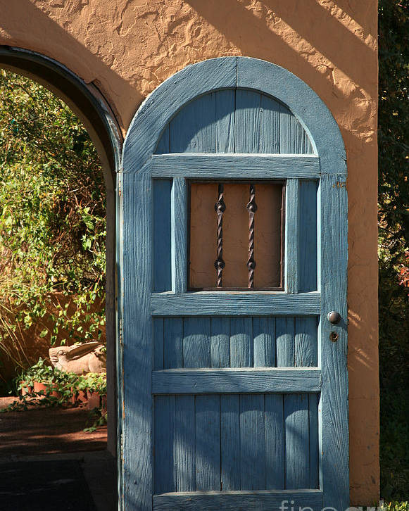 Door Poster featuring the photograph Blue Arch Door by Timothy Johnson