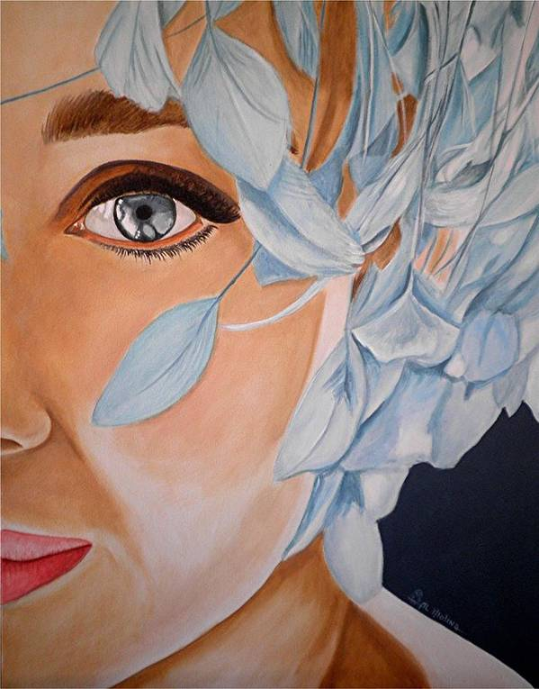Audrey Hepburn Poster featuring the painting Blue Audrey by Al Molina