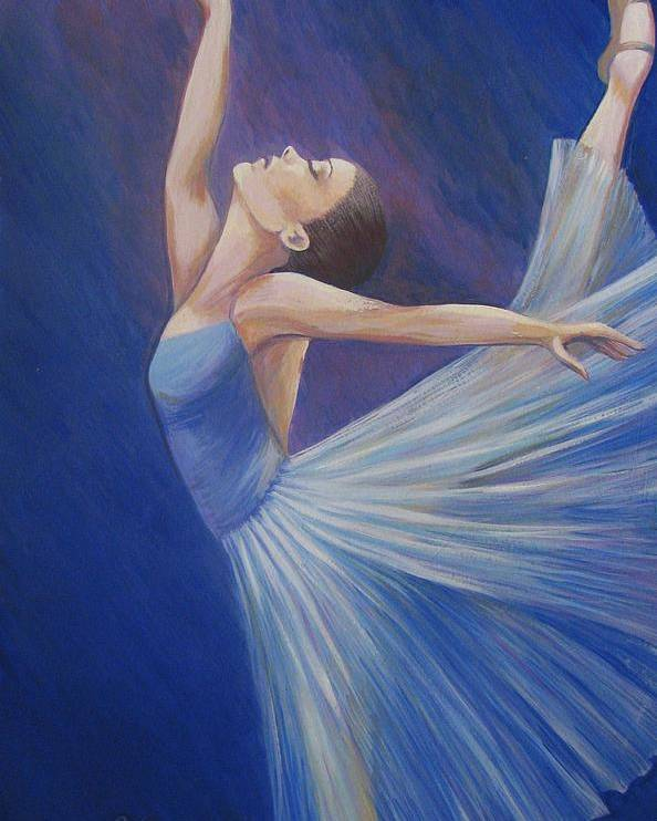 Blue Poster featuring the painting Blue Ballerina by Catalina Decaire