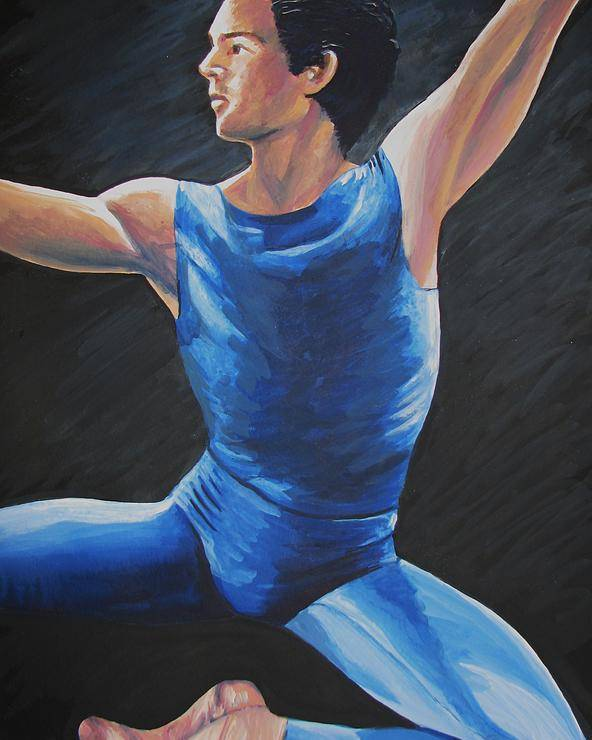 Blue Poster featuring the painting Blue Ballerino by Catalina Decaire