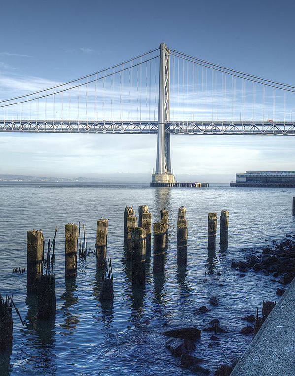 Bridge Poster featuring the photograph Blue Bay Bridge by Tara Schendel