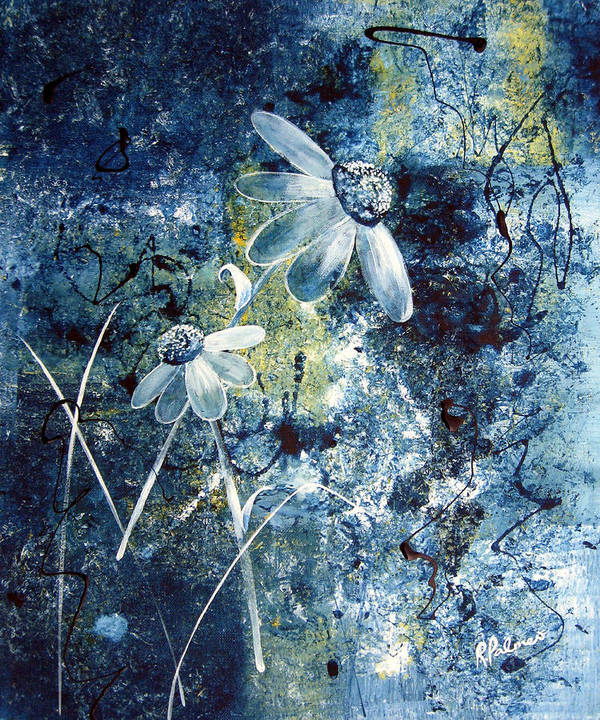 Abstract Poster featuring the painting Blue Beauties by Ruth Palmer
