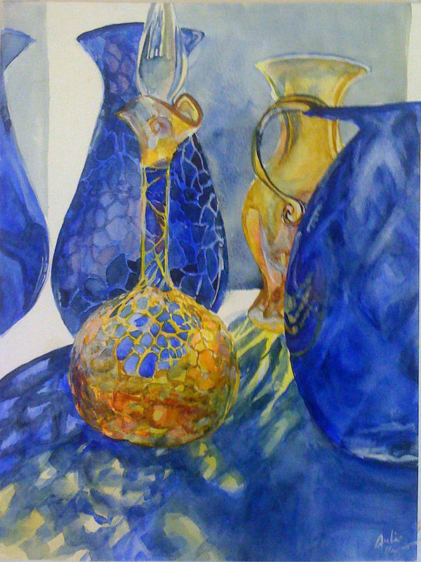 Glass Poster featuring the painting Blue Blenko by Julie Morrison