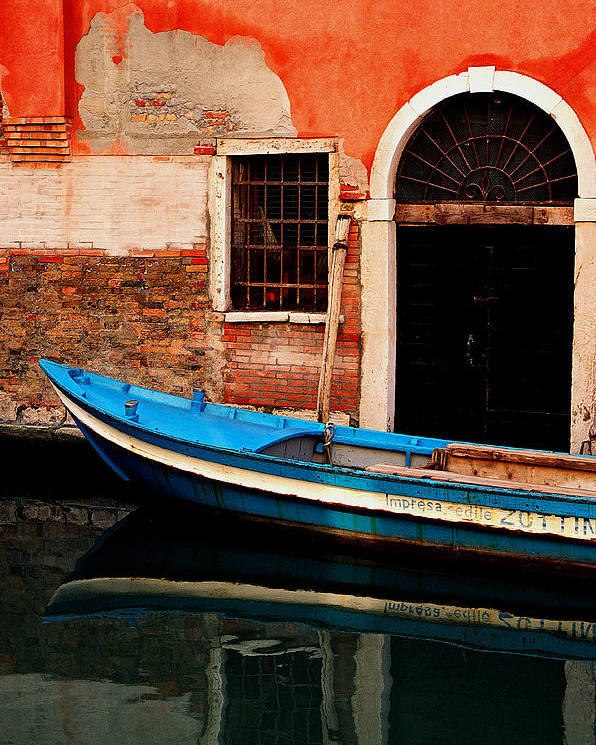 Water Poster featuring the photograph Blue Boat Venice Italy by Xavier Cardell