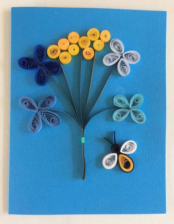 Enjoyable Blue Bouquet Quilling Greeting Card Poster By Gay Dallek Personalised Birthday Cards Cominlily Jamesorg