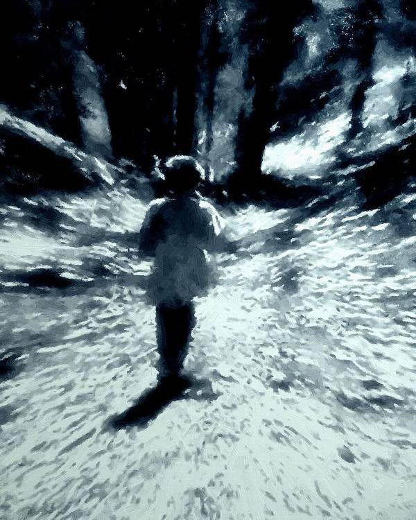 Blue Poster featuring the painting Blue Boy Walking Into The Future by RC DeWinter