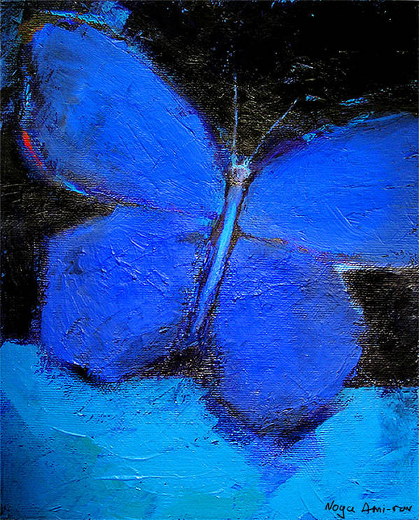 Butterfly Poster featuring the painting Blue Butterfly by Noga Ami-rav