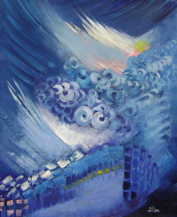 Abstract Poster featuring the painting Blue Concerto 2 by Lian Zhen
