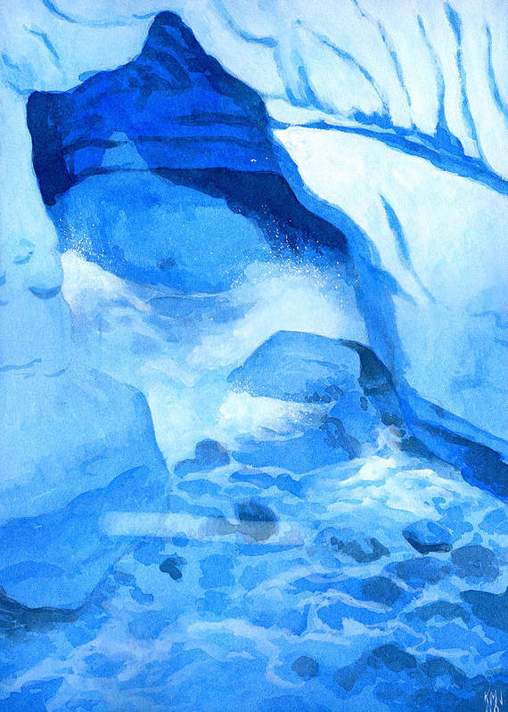 Seascape Poster featuring the painting Blue Cove by Ken Meyer