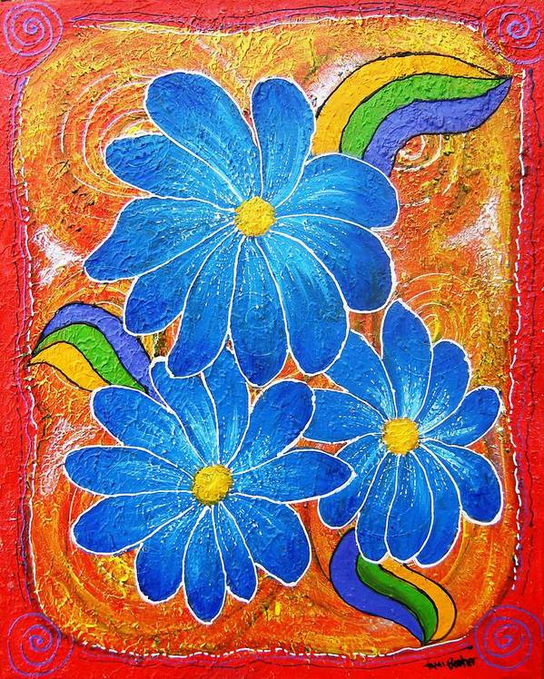 Poster featuring the painting Blue Daisies Gone Wild by Tami Booher