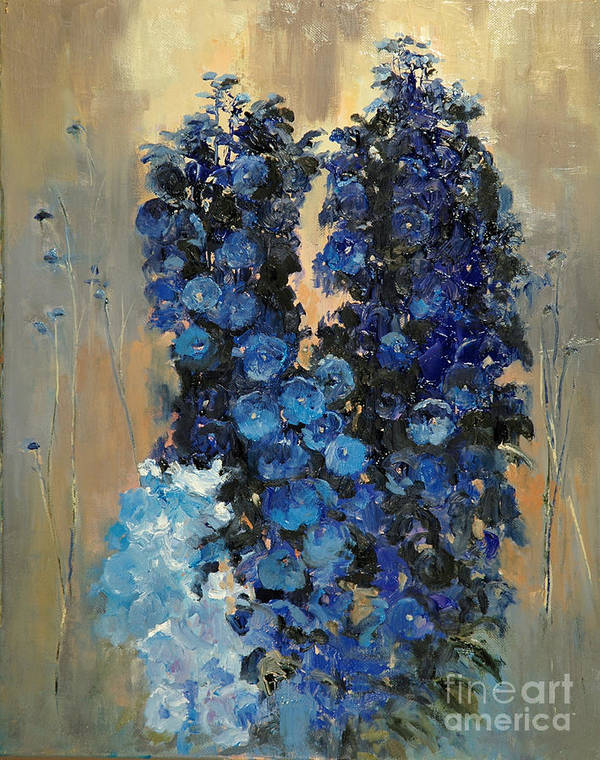 Floral Poster featuring the painting Blue Delphiniums For Nancy by Glenn Secrest