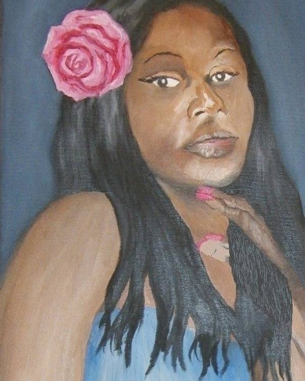 African American Poster featuring the painting Blue Diva by Angelo Thomas