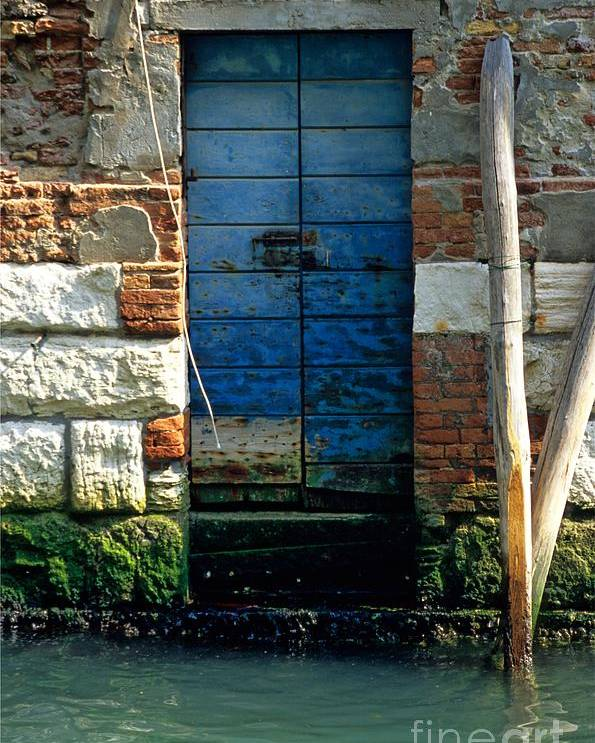 Venice Poster featuring the photograph Blue Door In Venice by Michael Henderson