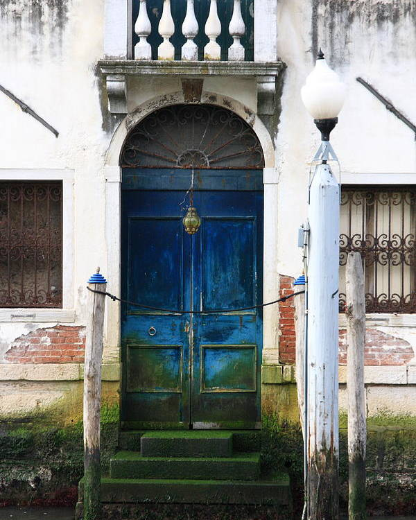 Venice Poster featuring the photograph Blue Door on Grand Canal in Venice by Michael Henderson