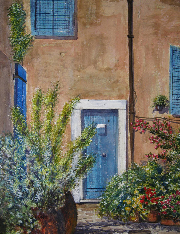 Landscape Poster featuring the painting Blue Door by Shirley Braithwaite Hunt