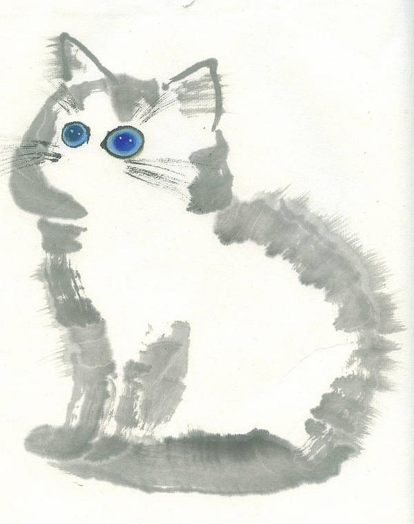 Blue-eye Kitten Sitting Still. This Is A Contemporary Chinese Ink And Color On Rice Paper Painting With Simple Zen Style Brush Strokes.  Poster featuring the painting Blue-eye by Mui-Joo Wee