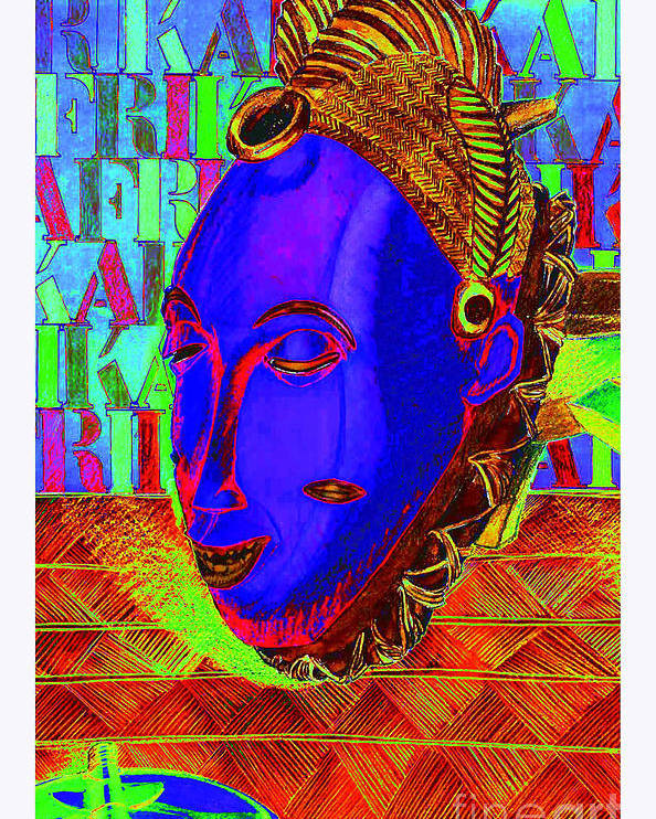 Tribal Poster featuring the mixed media Blue Faced Mask by Ronald Rosenberg